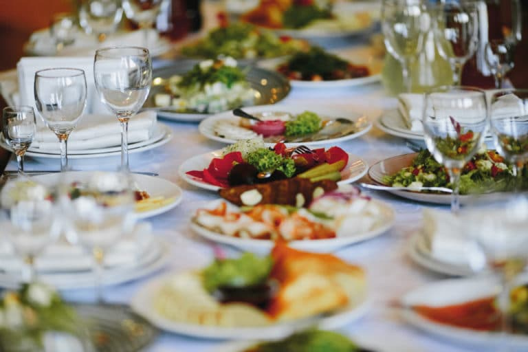 Plates with variety food on the celebration table